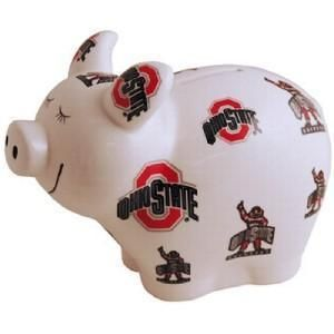 Ohio State Buckeyes Ceramic Piggy Coin Money Bank