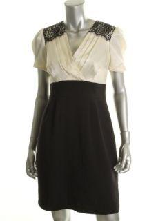 Jessica Howard Black Ivory Pleated Front V Neck Cocktail Dress Petites