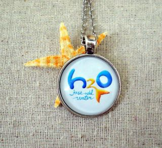 H20 Just Add Water Mermaid Inspired Logo Pendant Necklace Silver 18