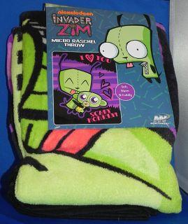 Invader Zim Gir w Monkey Micro Raschel Throw Blanket 48 x 60 New