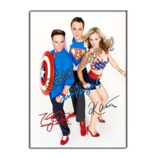 Theory Autograph Poster A4 Jim Parsons Kaley Cuoco PP Signed