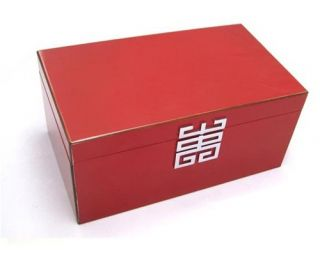 Modern Red Lacquer Wood Jewelry Box w Jewelry Tray