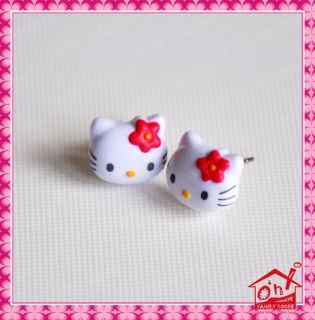 Plastic Hello Kitty Pin Earrings Pink Red Bow Holiday Sweet Gift Bag