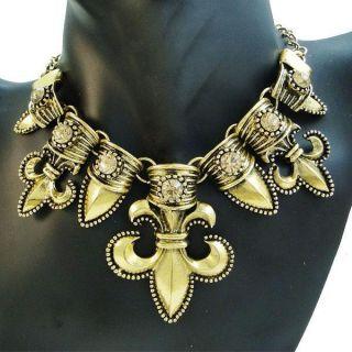 Style Gold Tone Fleur de Lis Flower Crystal Necklace Pendant