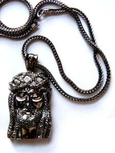 Black Gold Iced Out Jesus Piece Pendant Franco Chain