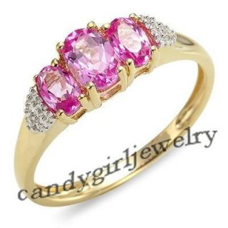 Jewelry Art Pink Sapphire Womans 10KT Yellow Gold Filled Ring Size 8