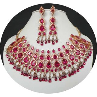 Indian Jewelry Set Hot Pink Diamond Cut Stone Bridal Necklace Earring
