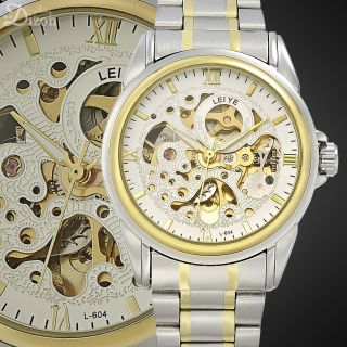 Jewelry White Dial Mechanical Skeleton Automatic Steel Men Wrist Watch