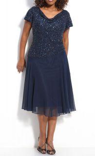 Kara Blue Embellished Beaded Sequined Draped Cocktail Evening Dress