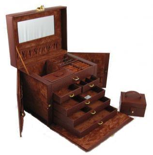 Beautiful Large Brown Leather Jewelry Box Case Lock w Key KS1