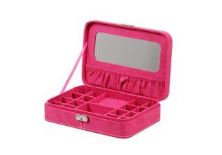 Deluxe Velvet Key Lock Jewelry Accessories Storage Box Case