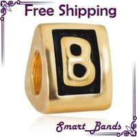Gold EP Letter A Z Beads Choice for European Charm Bracelet Free