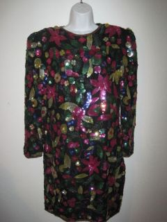 JOAN LESLIE WOMENS SILK BLACK DRESS WITH BRIGHT COLORED SEQUIN FLOWERS