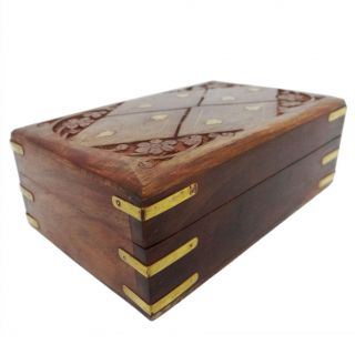 Vintage Style Small Wooden Jewelry Box Decorative Storage Trunk SWB10C