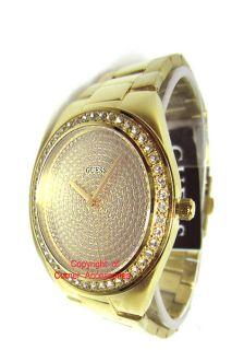 New Guess Women Gold Tone Swarovski U11055L1 Crystals Watch
