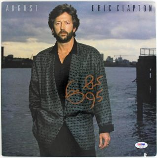 Eric Clapton August Signed Album Cover w Vinyl PSA DNA P00929