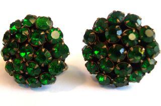 Vintage 1940s Jade Emerald Green Crystal Rhinestone Screw Back