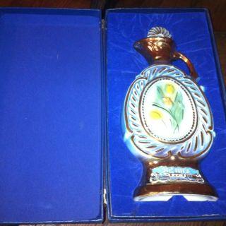 Jim Beam Liquor Bottle Tulip Decanter with Case 1973 Good Condition