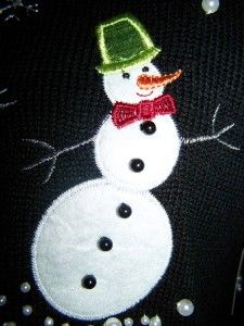 Ugly Christmas Sweater Tacky 3 D Sparkle Snowman Party Mens L XL 48