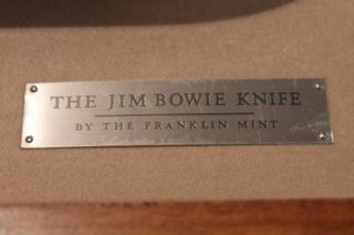 Franklin Mint Jim Bowie Knife in Glass Case