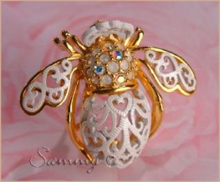 Joan Rivers Gold Opal Crystal White Lace Bride Bee Bug Pin