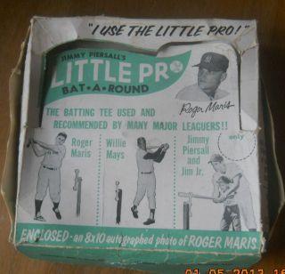 Vintage 1960 Jim Piersalls Little Pro Batting Tee Roger Maris Willie