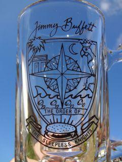 Jimmy Buffett The Sleepless Knights Heavy Glass Beer Mug Stein Rare