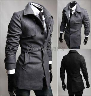 JJ Mens Slim Single Breasted Long Trench Jacket Wool Coat 2 Color M
