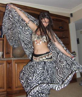 BellyDance Black White Zebra Print Chiffon Veil 45x108