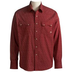 Mens Ariat Western Jody Red Pearl Snap Cowboy Shirt 10006657