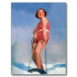 Boogie retra del esquí acuático de las mujeres del postal de