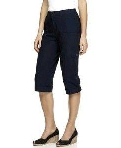 JM Collection Plus Size Pants Navy Cuffed Stretch Capri 18W 2X