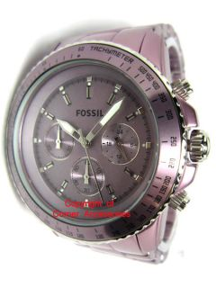 Brand New Fossil Ladies Aluminum Purple Tone Chrono Tachymeter CH2747