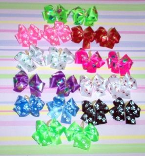 Dog Grooming Bows Double Looped Paw Print Dog Bows Yorkie Poodle Shih