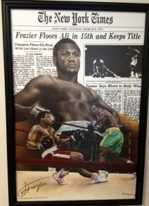 Joe Frazier Autographed Boxing Muhammad Ali Fight 24x32 Framed Canvas