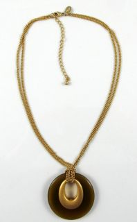 Lia Sophia Signed Necklace Brushed Gold Plated Tigers Eye Disc 16 18