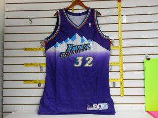 57 SG Karl Malone #32 Utah Jazz Jersey Autographed w/Letter Size 52