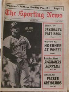 Joe Torre Braves 1967 Sporting News No Label