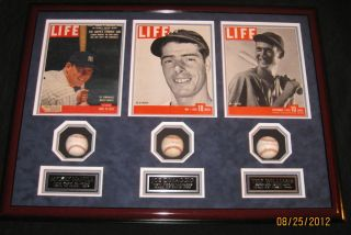 Mickey Mantle Ted Williams Joe DiMaggio signed baseballs framed PSA