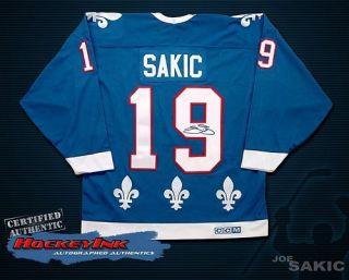 Joe Sakic Quebec Nordiques Signed CCM Blue Jersey