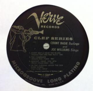 COUNT BASIE & JOE WILLIAMS swings sings LP VG MGV 8063 DSM David Stone
