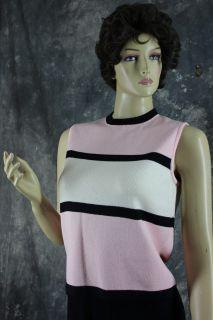 St John Women Santana Knit Pink Black Ivory Top Blouse Tank Under Suit