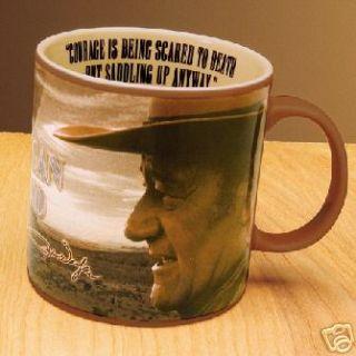 JOHN WAYNE Courage LARGE Coffee Soup Mug 20oz Cowboy Old West
