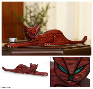 Cat Mischief Hand Carved Wood Sculpture Modern Peru Art