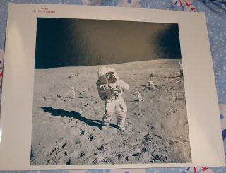 John Young at Alsep Deployment Site Apollo 16 NASA 8 x 10 Red Stamp