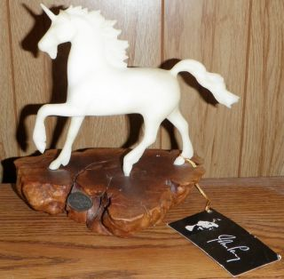 John Perry Studios White Unicorn on Wood Pellucida figure figurine