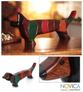 Cute Hand Carved Wood Puzzle Dachshund Art