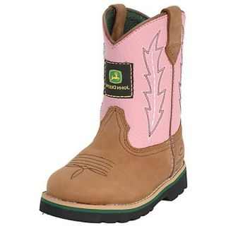 John Deere Toddler Wellington Kids Cowboy Boot Brown Pink JD1185