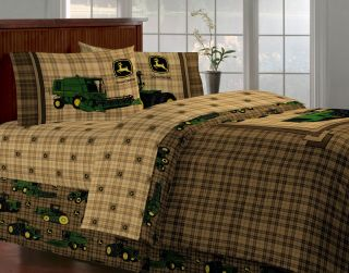 BRAND NEW JOHN DEERE BEDDING TRADITIONAL TRACTOR PLAID TWIN SIZE 4 PCS