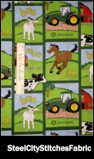 John Deere Green Tractor Farm Animal Block Nursery Baby 40417 Cotton